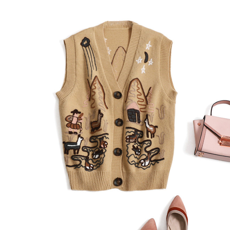 New pole grade cattle goods Double Wear age reduction childrens interest embroidery embroidery sleeveless knitted waistcoat womens Vest wear in autumn and winter