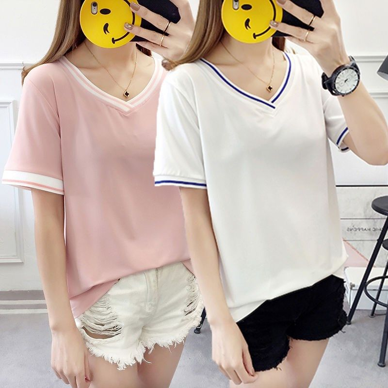 Fattening plus size 200kg summer new solid color short sleeve t-shirt female student version loose and versatile half sleeve top