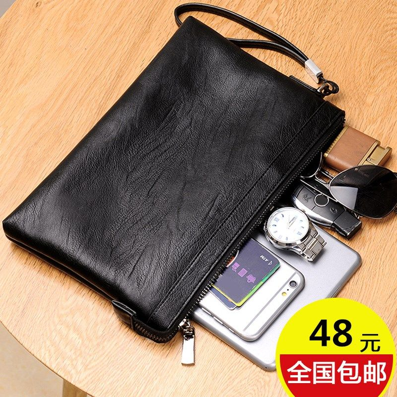 Mens bag handbag horizontal new soft leather business youth briefcase simple Korean version soft leather