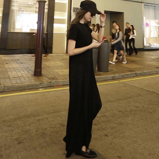 千乔服饰千乔一品黑色短袖长裙夏2020新款女装时尚韩版宽松休闲A