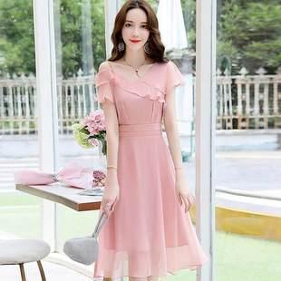 ..森系超仙簡約小禮服平時可穿夏禮服裙女宴會氣質晚裝主持人連衣