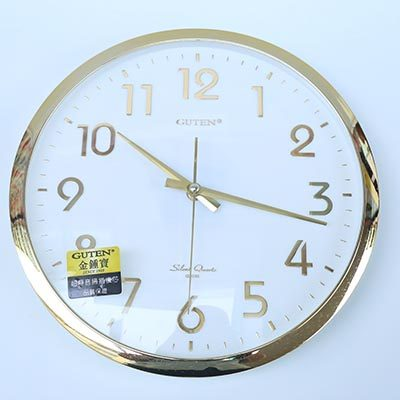 圆形钟办公客厅欧式现代简约卧室金色边框金字12寸静音挂钟