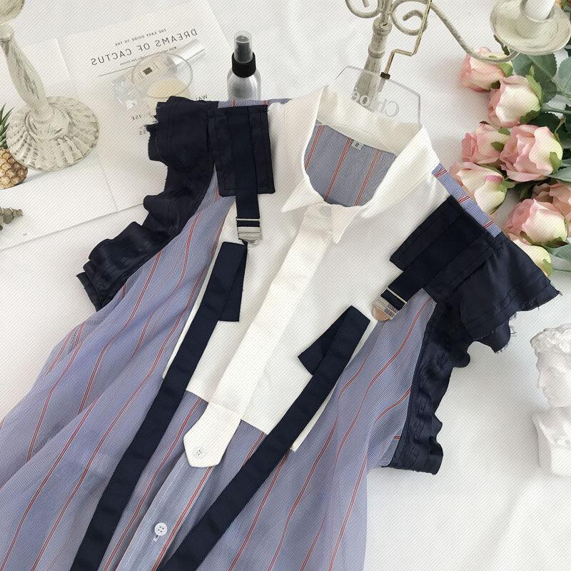 2019夏季新品女装个性潮流拼色彩条系带无袖雪纺衬衫上衣女