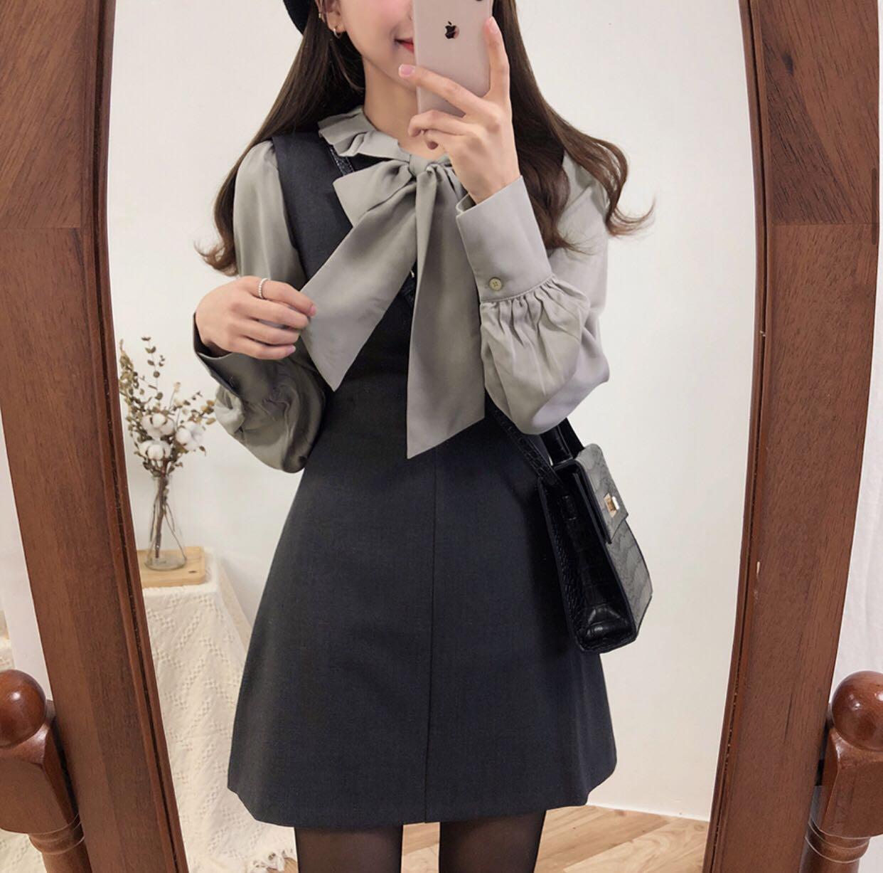现货 小姐姐推荐 荷叶边系带衬衫+背心裙套装