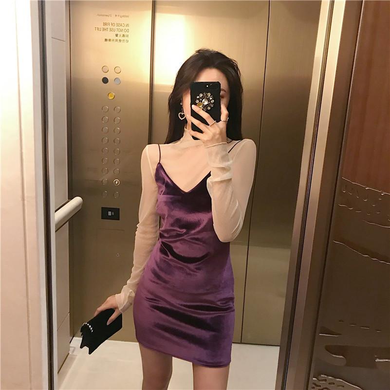 实拍 2018春装新款显瘦韩国chic丝绒百搭吊带裙
