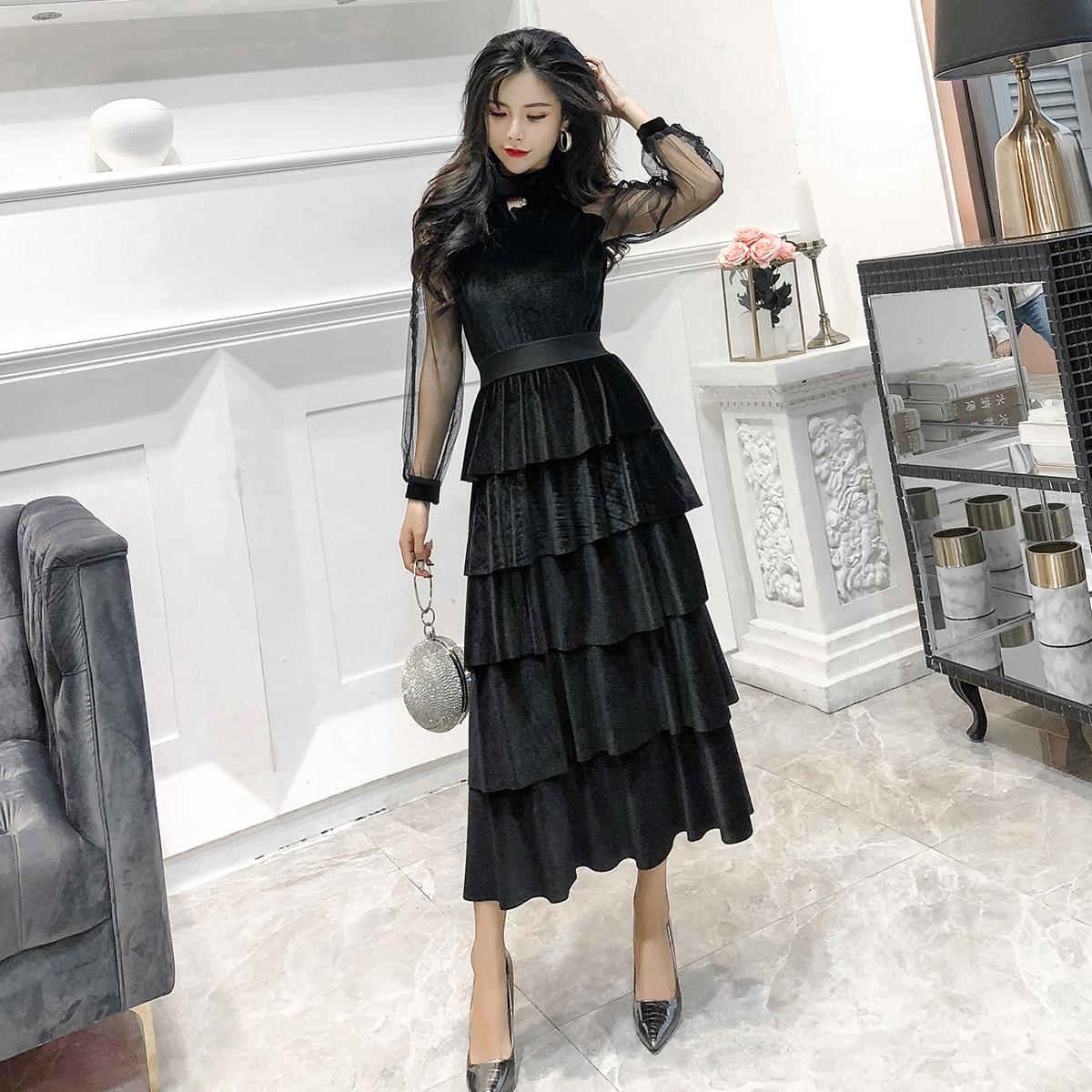 实拍现货名媛范韩版金丝绒收腰修身显瘦长袖层层蛋糕连衣裙
