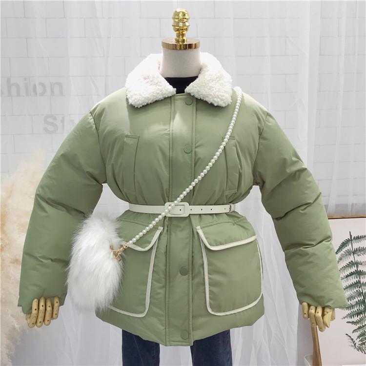 2018冬季韩版新款简约撞色宽松加厚面包服羊羔毛领棉服女棉衣外套