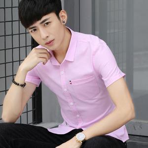 2018夏季青少年衬衫男短袖修身韩版学生休闲寸衫潮流帅气衬衣