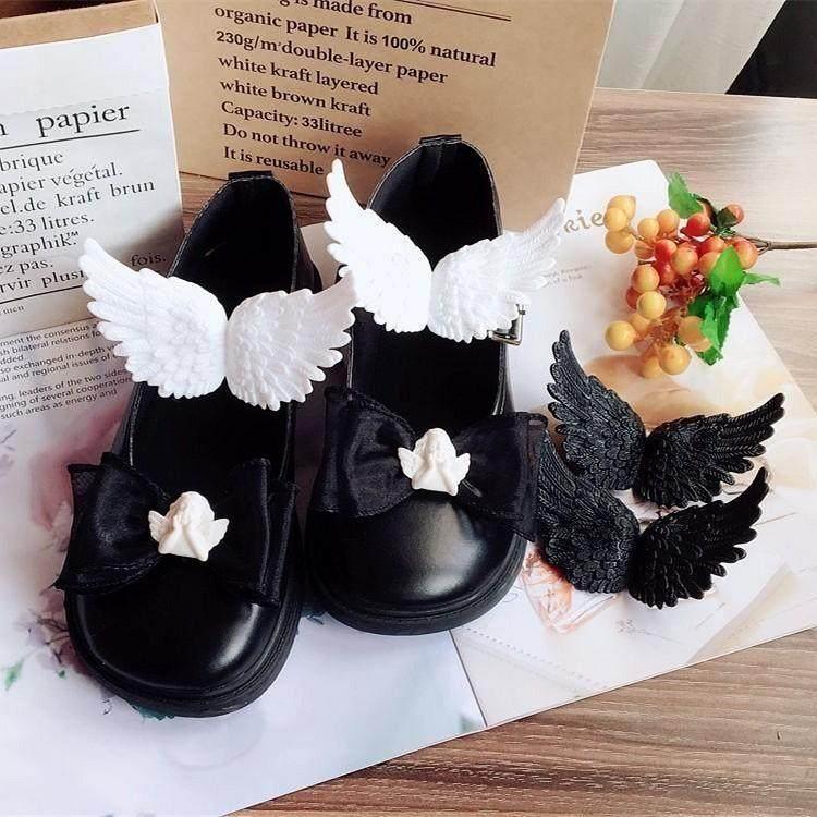 复古巴洛克小天使石膏质感鞋夹翅膀百搭鞋扣软妹蝴蝶结鞋花