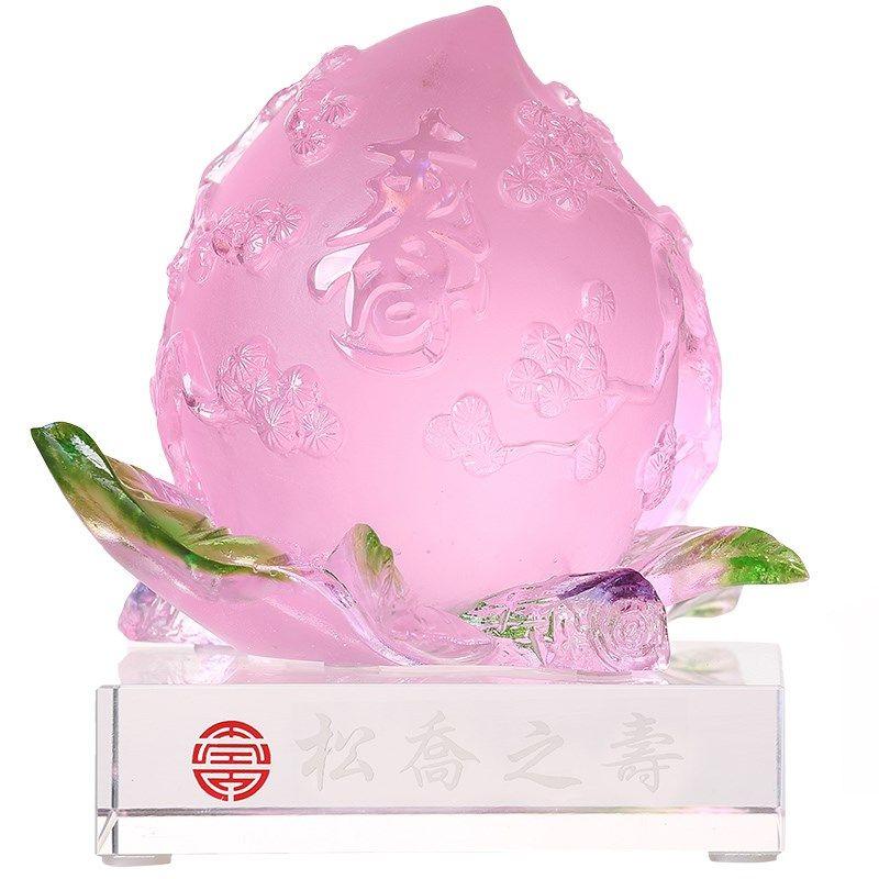 松乔之寿琉璃艺术品摆件送长辈老人生日贺寿祝寿纪念礼品