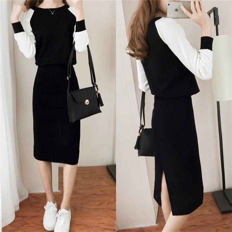 2018秋季新款韩版女装秋装潮时尚气质针织套装时髦裙子毛衣两件套