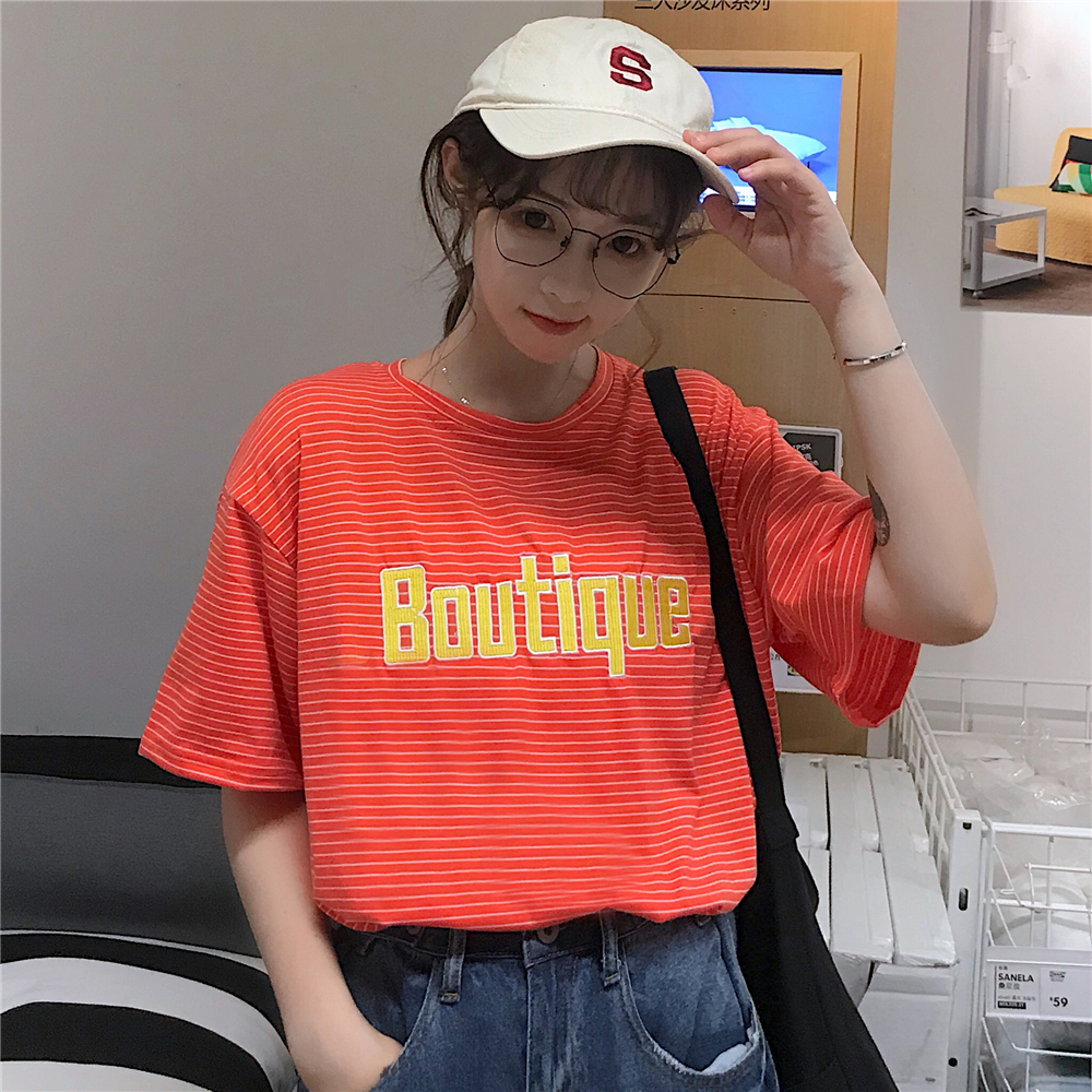 Real Shot Chart 100% Polyester Fiber  2019 New Style Korean-Style Striped Letter Embroidered Short Sleeve T-shirt Female