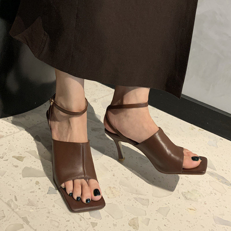 2020 new leather square head thin heel one line ankle buckle with open toe clip toe retro simple high heel sandals for women