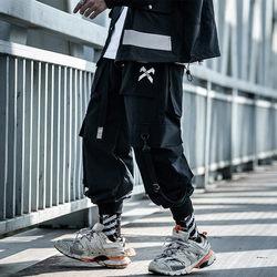 小彬国潮多口袋工装裤男宽松嘻哈机能风飘带长裤飞行员裤子潮