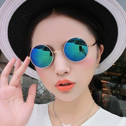 ? Summer 2019 round glasses for men and women sunglasses for traitors glasses for the landlord two handle blind glasses round