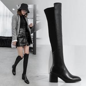 靴子春秋真皮长筒皮靴高筒靴女过膝矮个子长靴2020新款秋款高跟冬