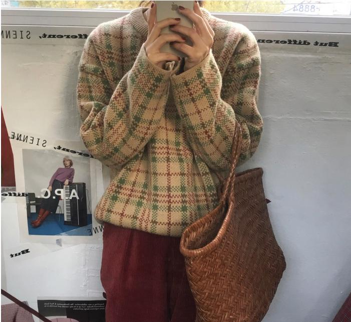 复古 格子 毛衣