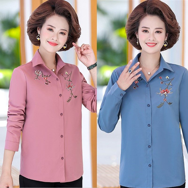 2020 spring and autumn new foreign style large size loose stand collar embroidered shirt middle aged and old womens dress 40-50 shirt