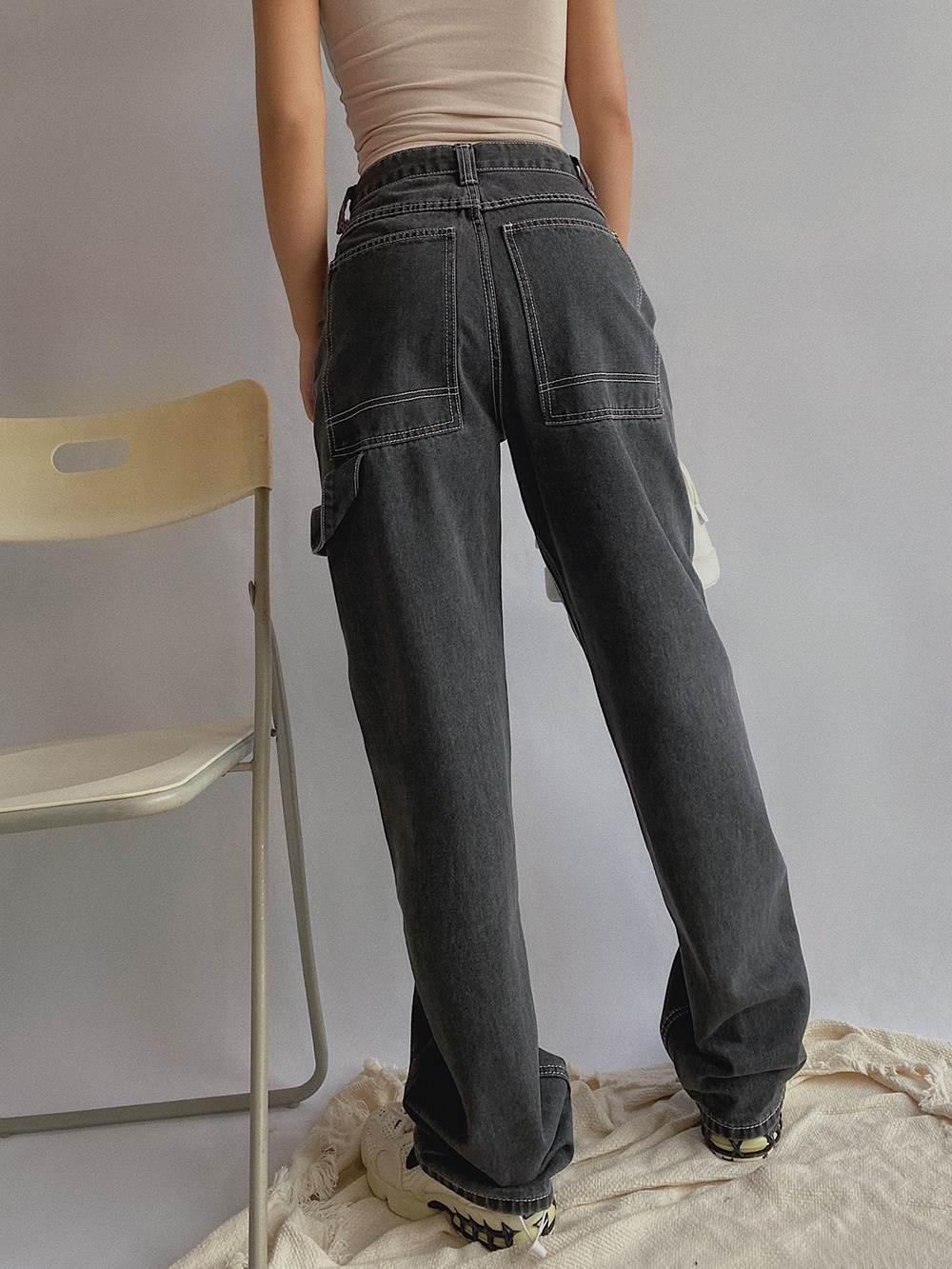 New autumn jeans womens loose boy friends work clothes with wide legs and elegant sagging, high waist showing thin and straight tube mopping on the floor