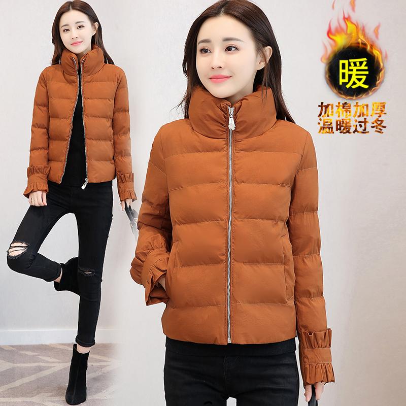 实拍新款冬装立领女装韩版短款外套棉服女修身小棉袄潮