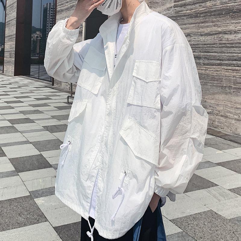 夏季无帽防晒衣男加肥大码薄款透气外衣宽松夹克工装外套