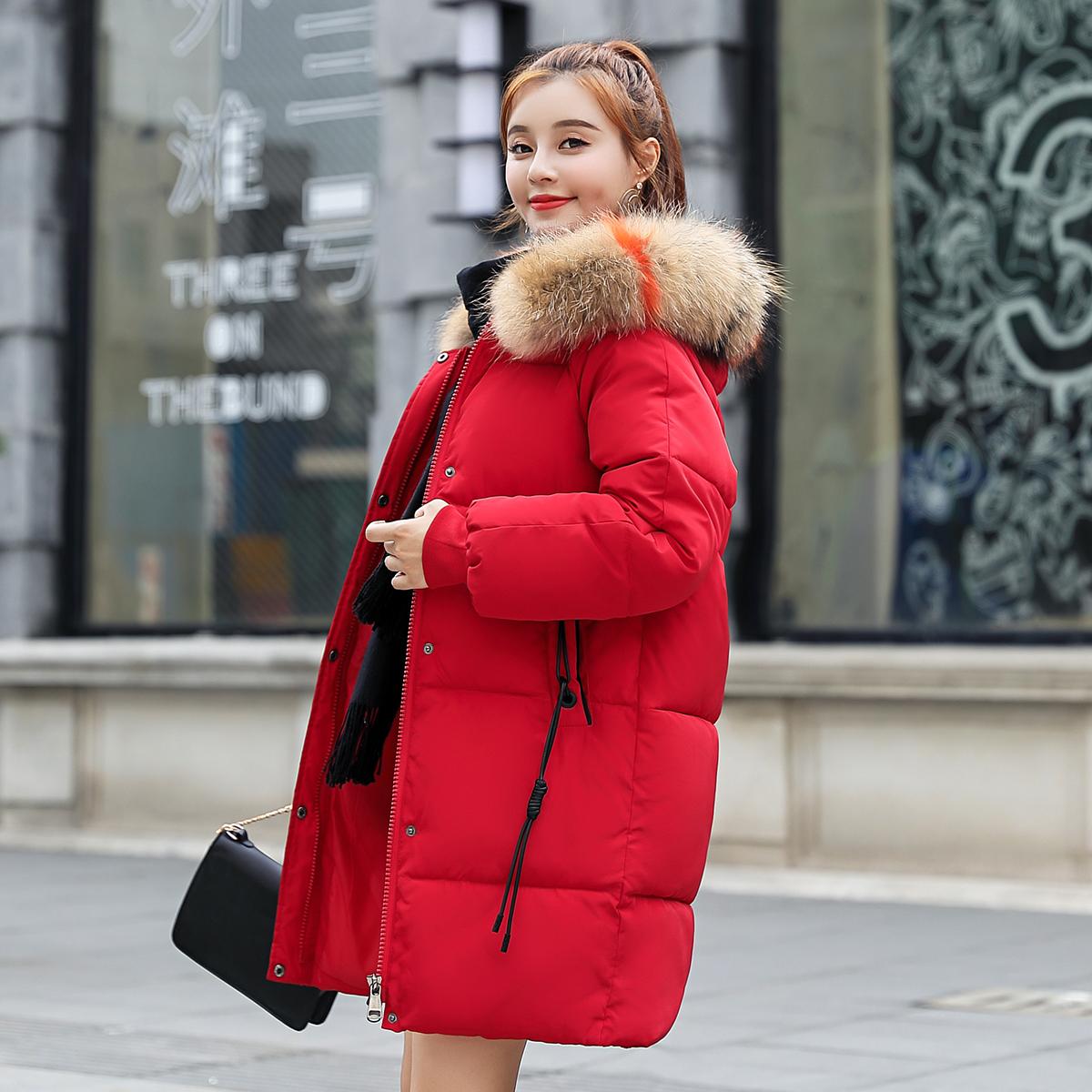 實拍2018秋冬新款羽絨服韓版大碼女裝中長款寬松棉服外套面包服