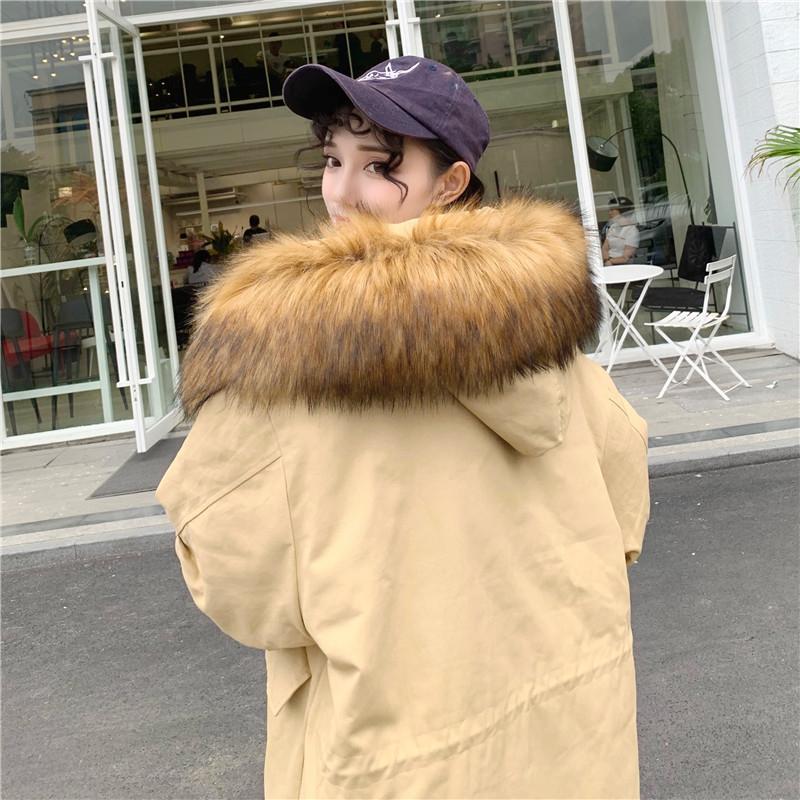 实拍韩版宽松大码BF工装棉服女中长款大毛领过膝棉衣外套