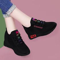 内增高运动鞋黑色网鞋透气网面2020春秋季新款女鞋休闲旅游小黑