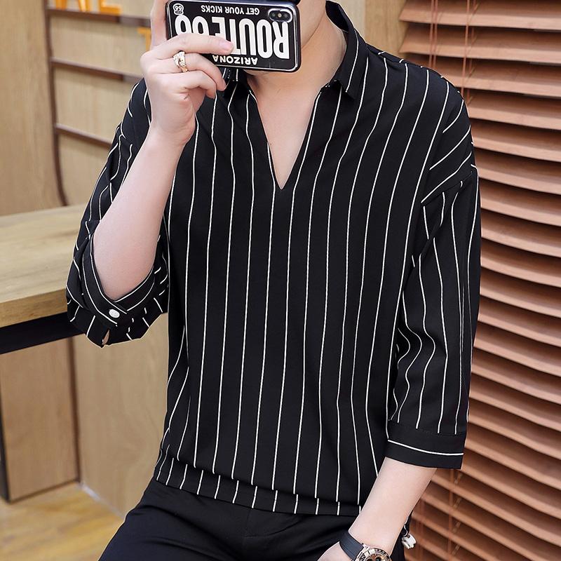 徐六喜比尔金顿男装GE 夏季时尚翻领竖条纹T恤
