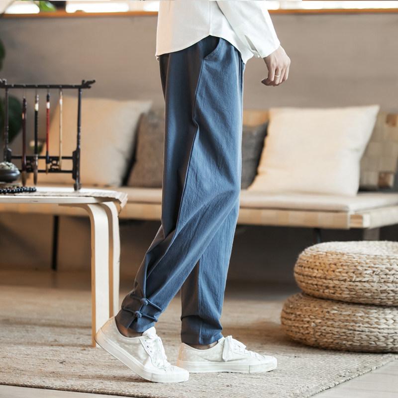 中式唐装汉服中国风男装大码休闲裤居士民族服装小脚裤子青年长裤