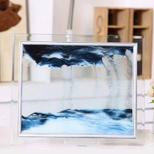 饰品流动山水玻璃流沙画办公室客厅d沙漏摆件 礼物创意家居装 个性