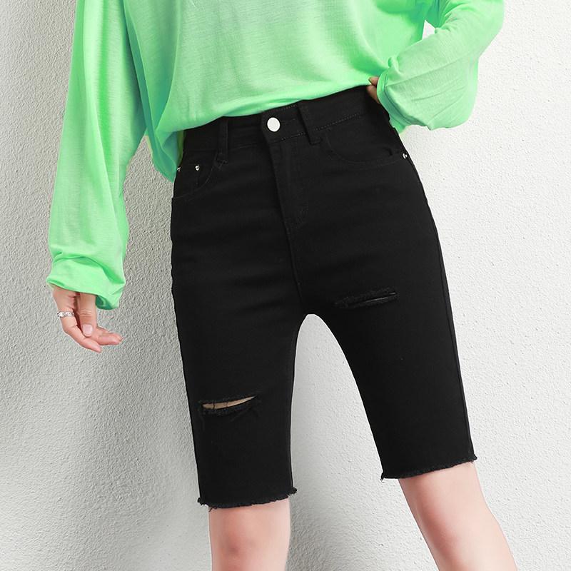 五分牛仔裤女新款潮黑色高腰直筒5分短裤薄款显瘦紧身破洞骑行裤