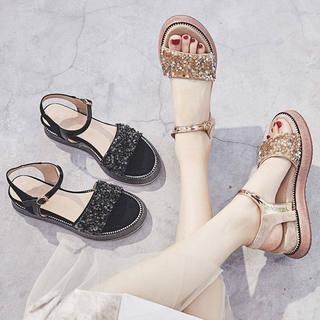 新款坡跟凉鞋女2020夏季学生韩版厚底水钻鞋罗马网红女鞋