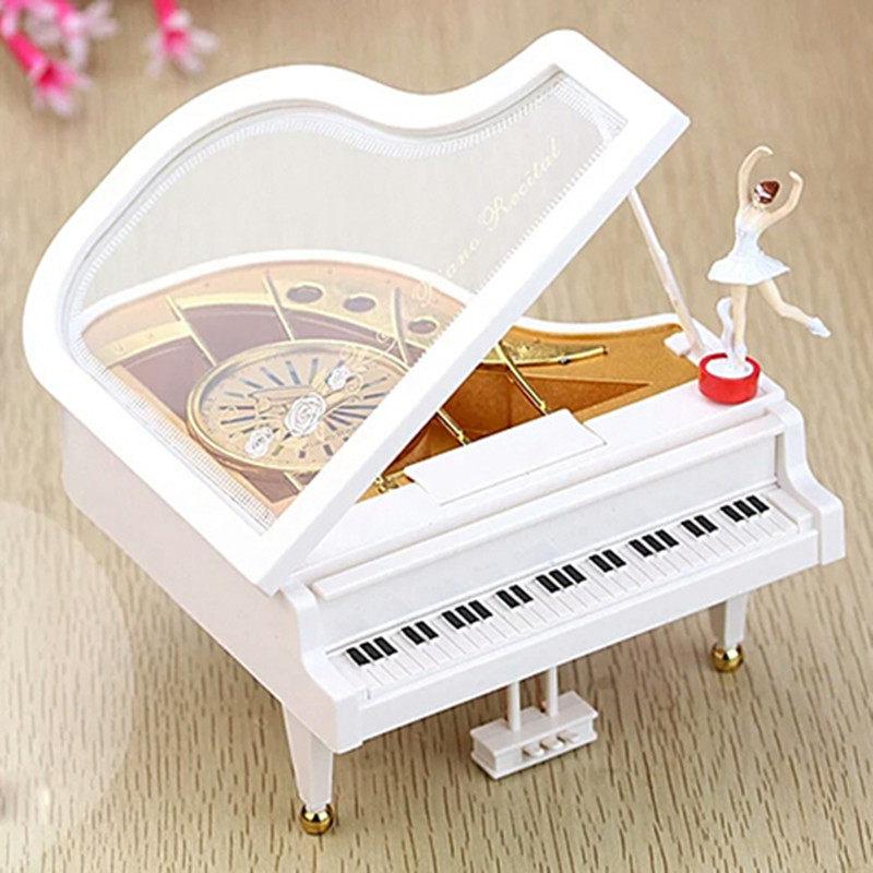 旋转跳舞钢琴音乐盒八音盒摆件创意旋转跳舞小女孩生日礼物送朋友
