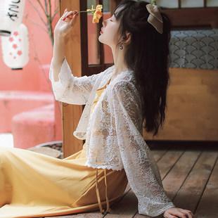 配吊帶裙子的上衣女開衫薄款外套夏季短款外搭鏤空披肩蕾絲防曬衫