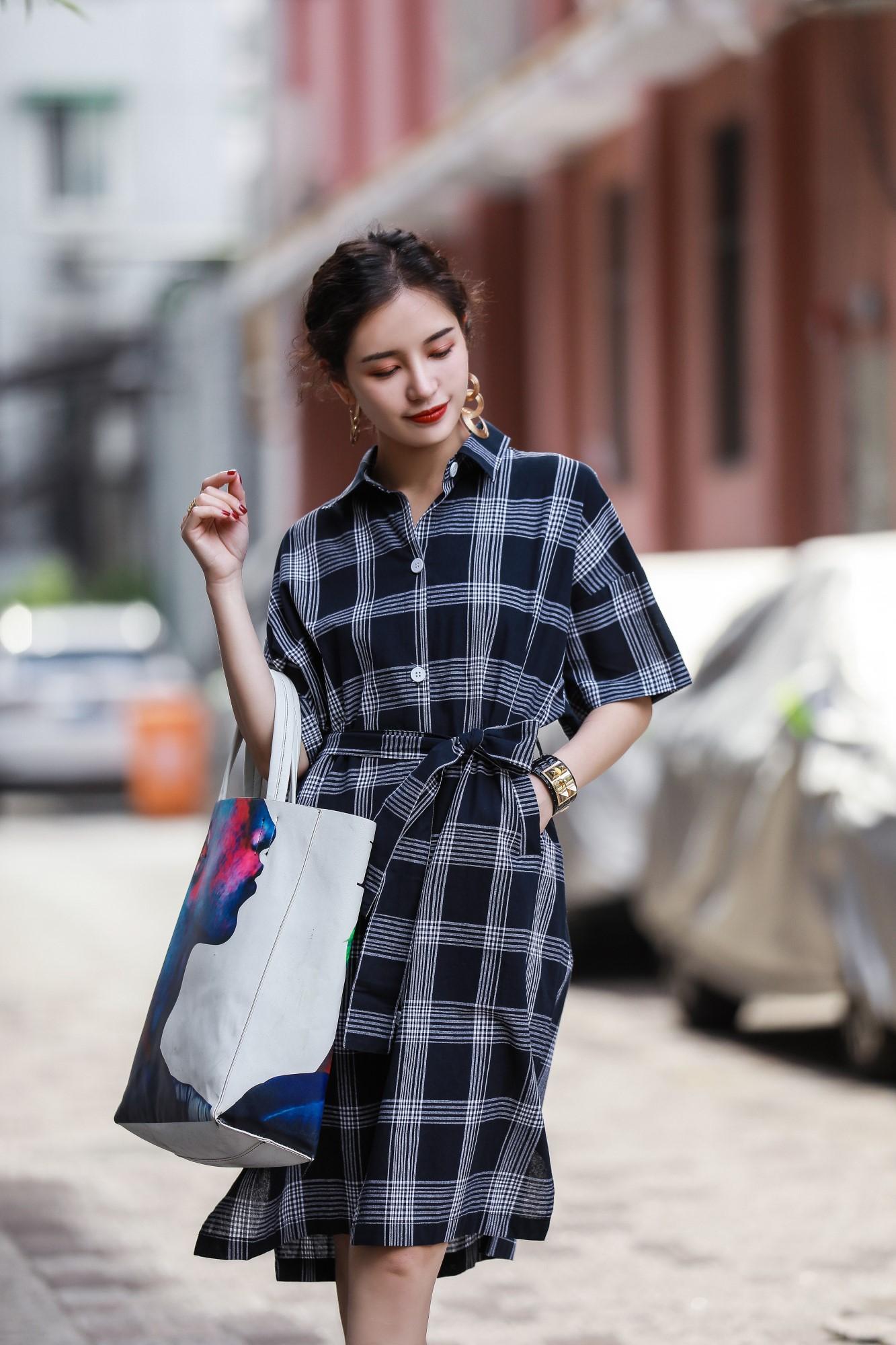 春夏装格子连衣裙女欧洲站五分袖绑带中长款衬衫裙5389现货