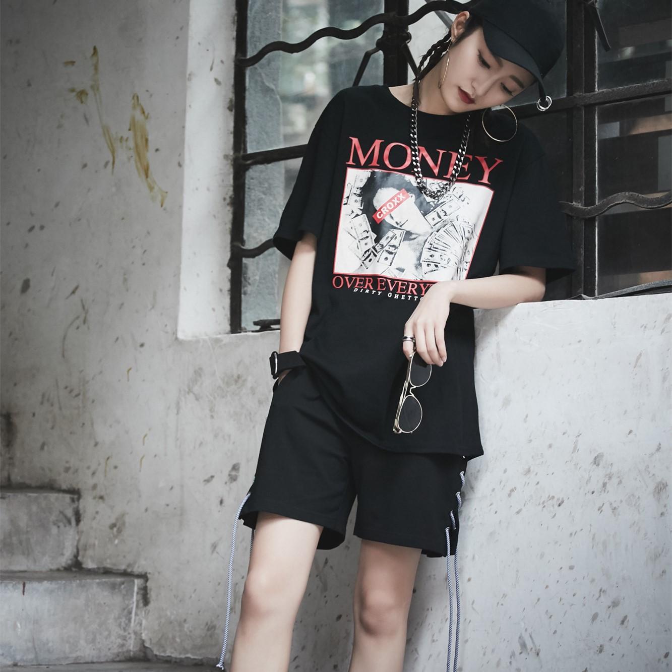 实拍街头潮牌个性侧边绑带设计宽松短裤女 潮人松紧高腰6686现货