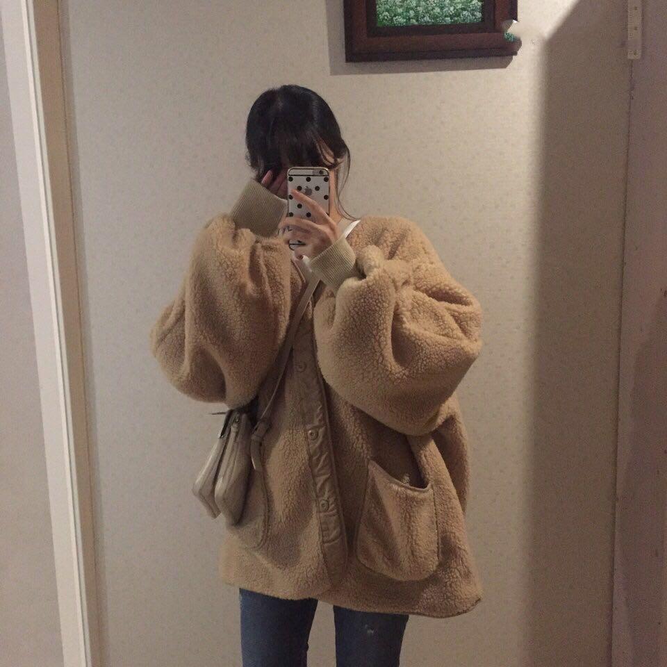 已质检 现货 爆款加棉版 休闲百搭保暖口袋毛茸茸宽松外套