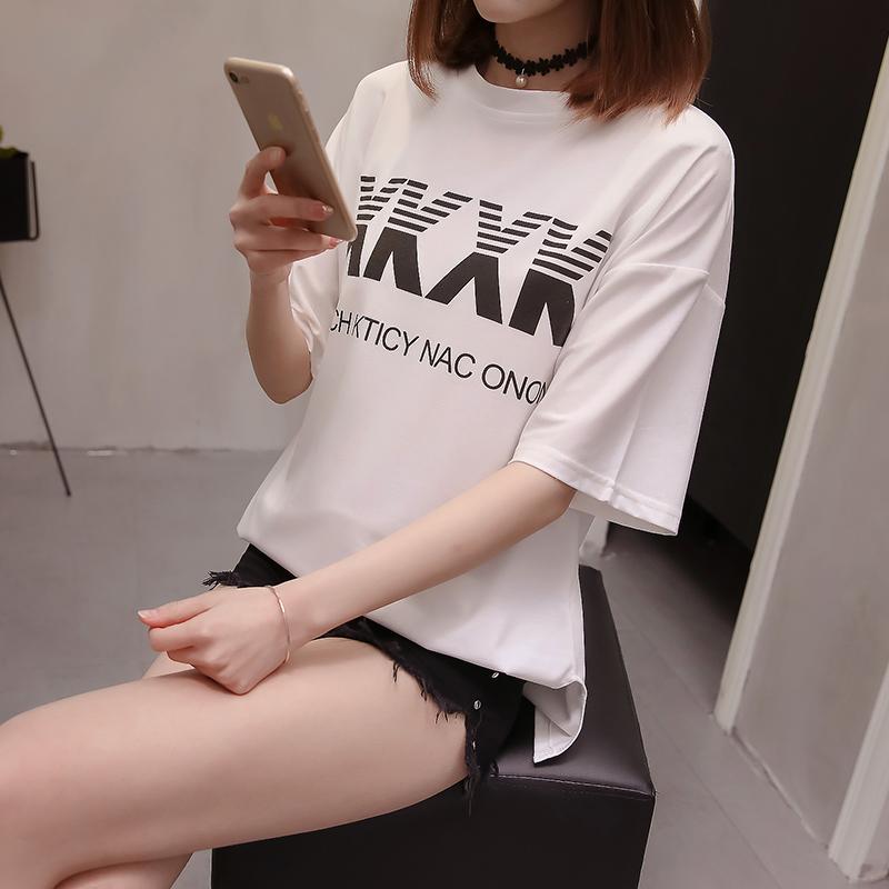 实拍2018新款T恤女韩版上衣女装学生ulzzang打底衫潮