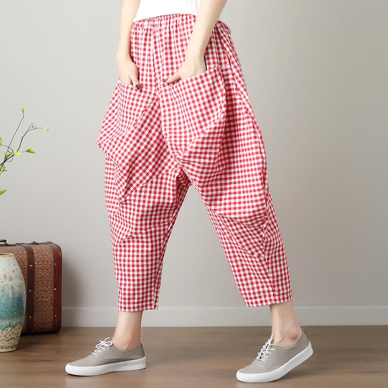 实拍2018原创夏季新款棉麻格子宽松百搭显瘦九分哈伦裤