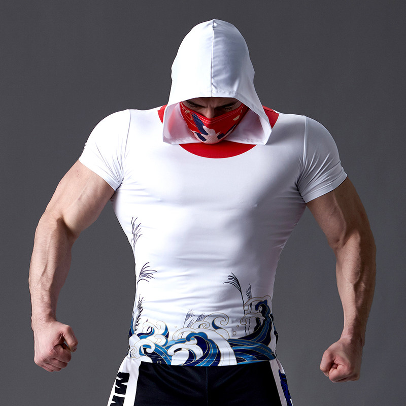 Night running tights mens fitness exercise hooded Bib short sleeve training clothes high elasticity and quick drying sunscreen T-shirt trend