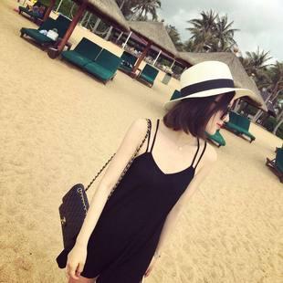 黑色海邊渡假吊帶裙沙灘裙女2020新款度假短裙顯瘦小個子連衣裙夏