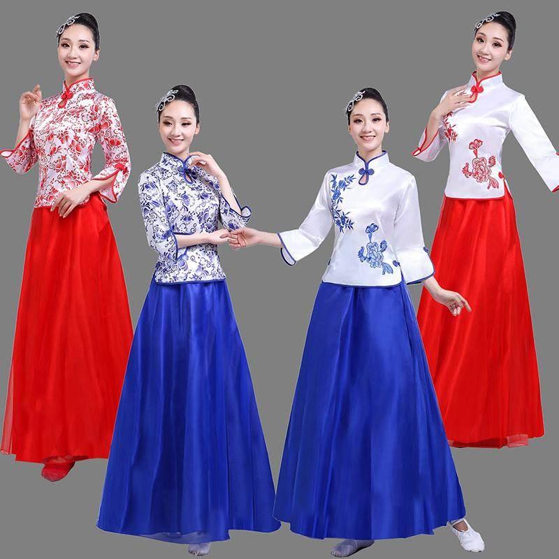 青花瓷长裙男女装我的中国心歌颂祖国黄河大合唱团演出服龙的传人