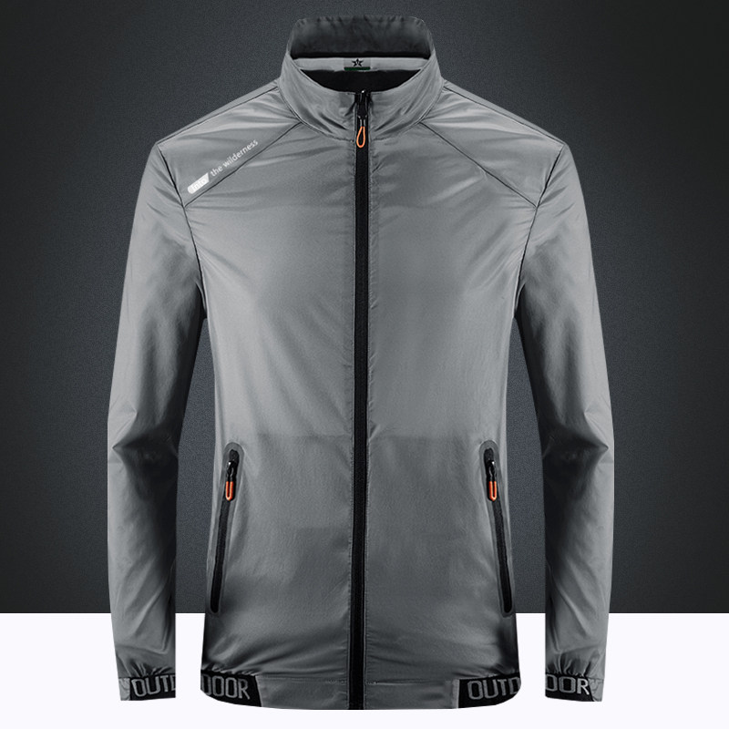 Mens outdoor skin suit summer sun proof suit light weight hoodless stand collar breathable sports jacket spring summer ice silk coat