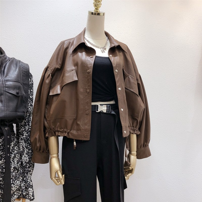 Leather Jacket Womens fall 2020 Korean version loose short hem Ruffle Top Small motorcycle leather jacket