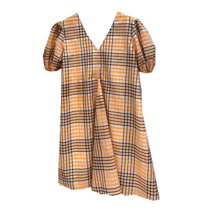 韩国2020夏季新款 性感领格纹连衣裙女宽松显瘦短裙子娃娃裙