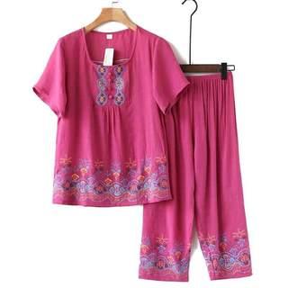 中老年人夏装女妈妈棉麻短袖套装奶奶夏季t恤老人衣服太太透气薄