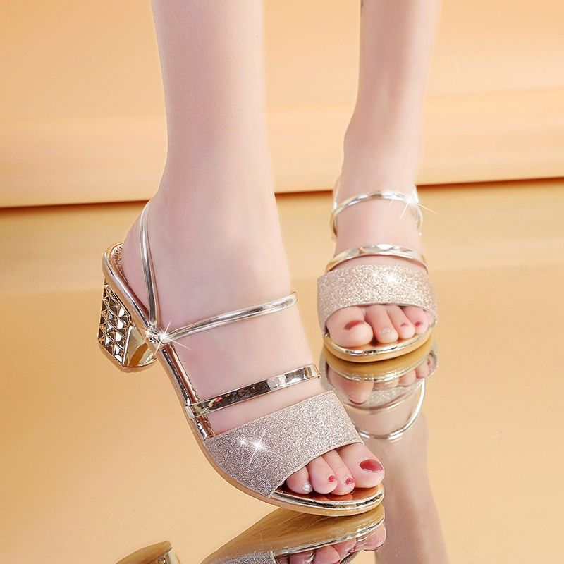 Sandals womens high-heeled open toe shoes with two thick heels