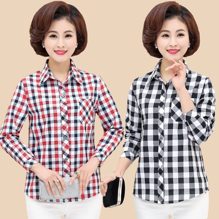 Middle aged and old womens large Cotton Long Sleeve Plaid Shirt mothers thin fattening shirt loose top in spring and summer