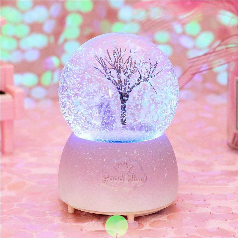 水晶球音乐盒生日礼物女儿童学生水晶球透明圆球梦幻圣诞礼物
